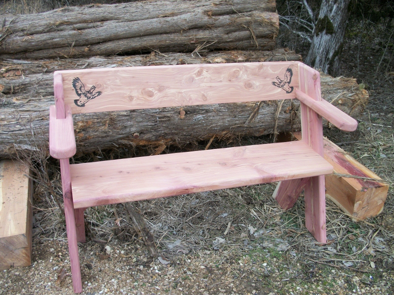 "Picture:  Eastern Red Cedar Bench made from 1 3/4"" thick material.  Price = $120.  Laser engraving is extra."